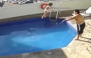 Horror! Man Caught on Camera Drowning His Own Stepdaughter Inside Swimming Pool in Broad Daylight